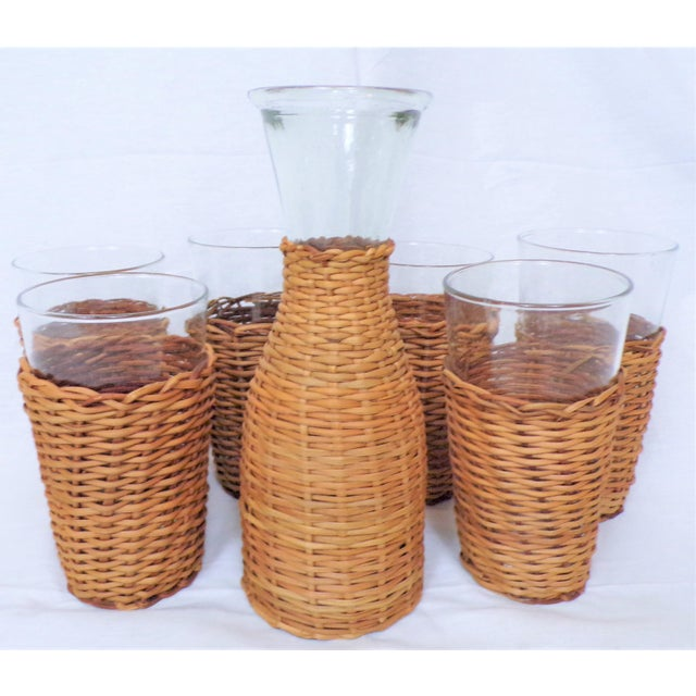 Vintage Rattan Wine Carafe and Glasses - Set of 7 For Sale - Image 11 of 11