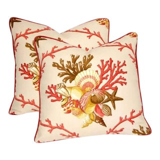 Multi-Color, Shell and Coral Pillows - a Pair For Sale