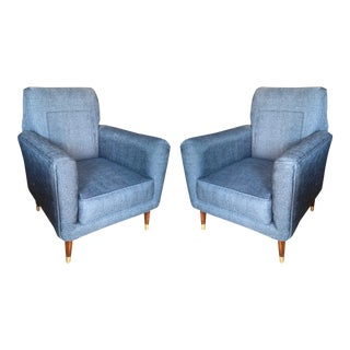 Pair of Italian Mid-Century Modern Club Chairs For Sale