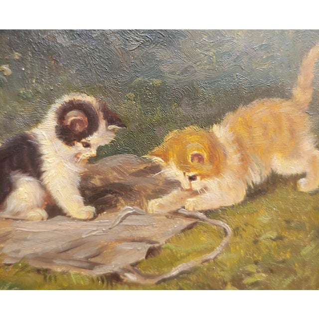 """""""Playful Kittens"""" German Oil Painting, 1930s For Sale - Image 4 of 9"""