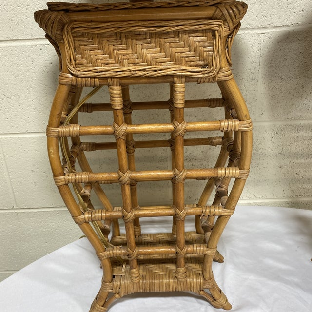 Asian Style Wicker Lamps - Pair For Sale - Image 4 of 13