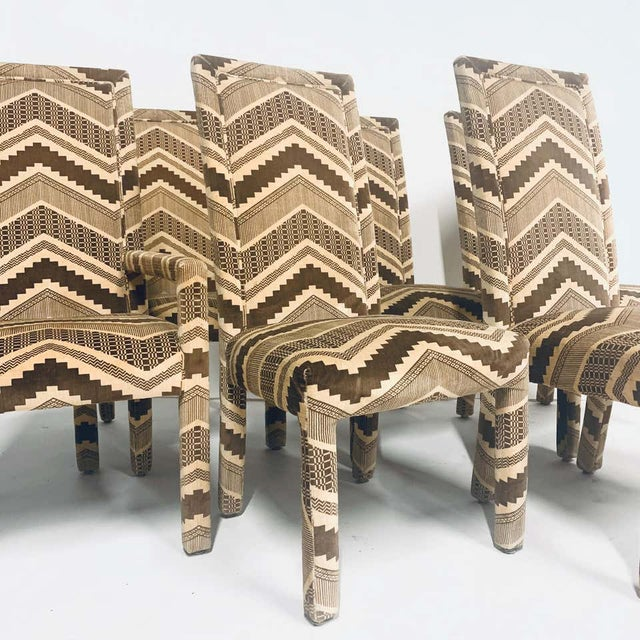 1970s Set of Six 1970s Glam Zig Zag Parsons or Tuxedo Velvet Upholstered Dining Chairs For Sale - Image 5 of 11