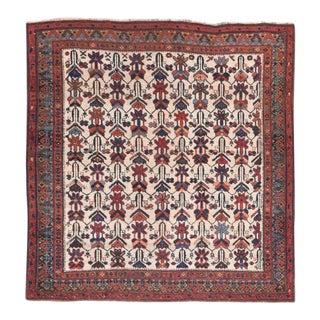 Antique Afshar Persian Rug- 3′5″ × 3′6″ For Sale