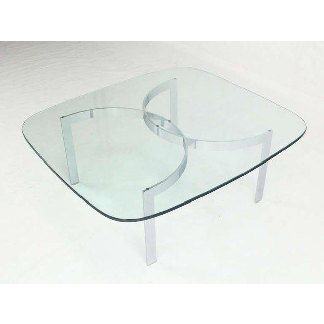 Transparent Mid-Century Modern Chrome and Glass-Top Coffee Table For Sale - Image 8 of 10