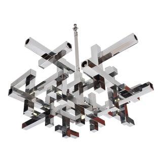 Mid Century Modern Italian Chrome Metric Chandelier by Sciolari For Sale