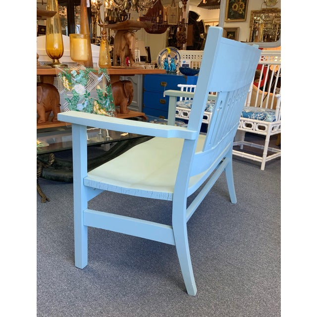 1940s Vintage Farmhouse Chic Solid Oak Bench For Sale In West Palm - Image 6 of 13
