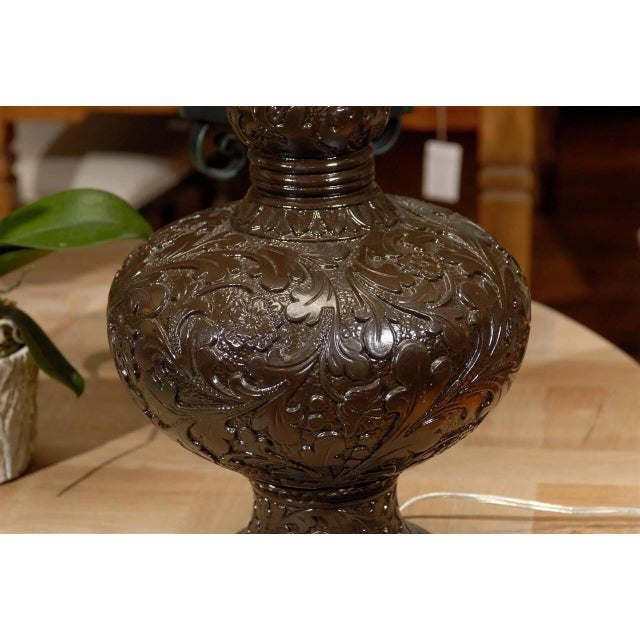 Midcentury Brown Floral Chalkware Lamp - Image 3 of 4