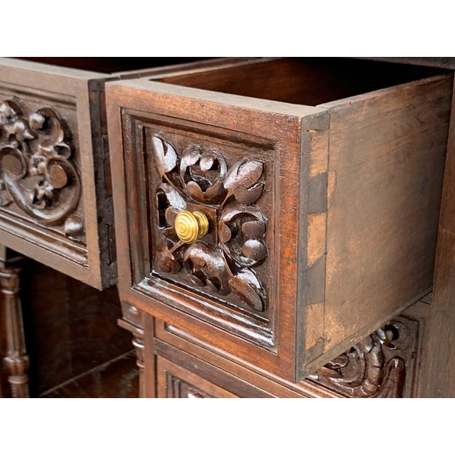 Red 18th Spanish Bargueno of Columns With Foot Bridge, Cabinet on Stand For Sale - Image 8 of 13