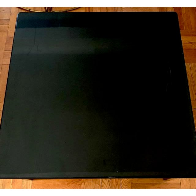 Lacquer Mid Century Italian Black Lacquered Float Top Coffee Table For Sale - Image 7 of 10