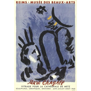 1960 Marc Chagall 'Moses and the Tablets' Modernism Blue,Black France Lithograph For Sale