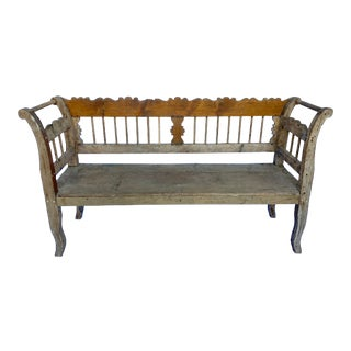 Antique Belgian Painted Wood Bench For Sale