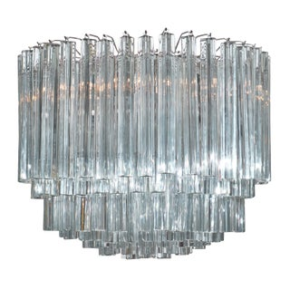 "Azzurino Murano Glass ""Triedri"" Chandelier For Sale"
