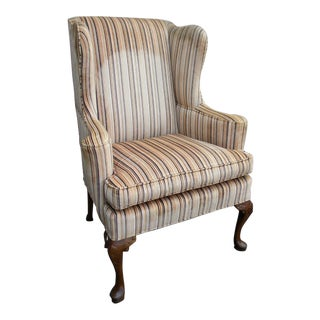 Queen Anne Living Room Wing Chair For Sale
