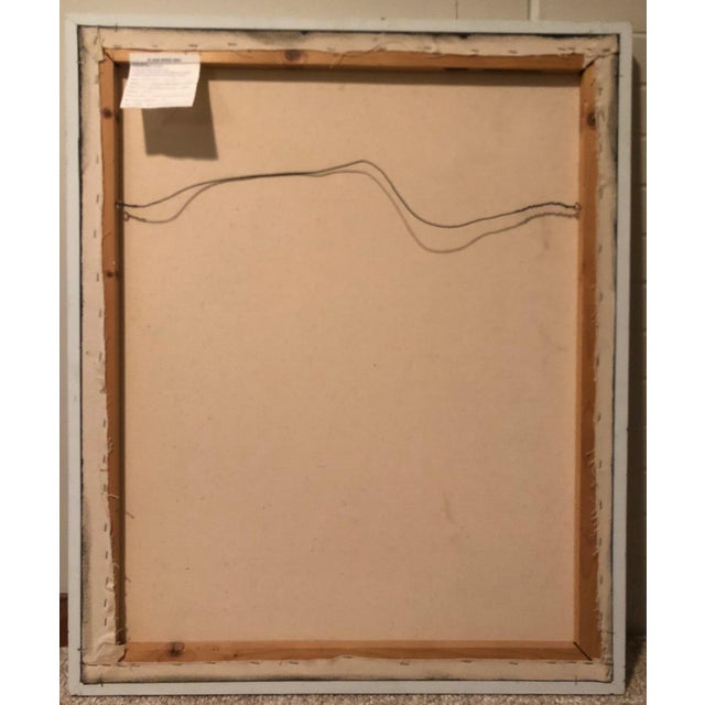 This is a vintage modernist abstract oil on canvas painting by St. Louis artist,Mariko Nutt. The painting is entitled...