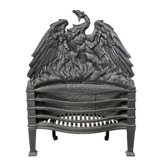Cast Iron Phoenix Bird Fireplace Grate For Sale