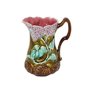 French Majolica Hydrangea Jug For Sale