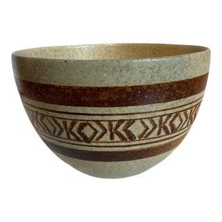 Vintage Geometric Design Pottery Bowl For Sale