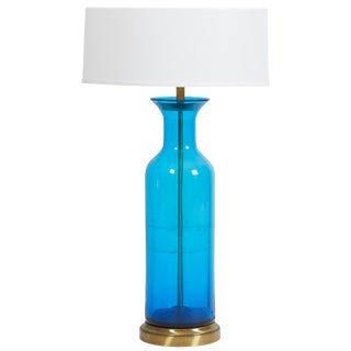 Oversized Blenko Blue Urn Glass Lamp For Sale