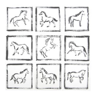 Abstract Minimalist Horse Paintings by Cleo Plowden - Set of 9 For Sale