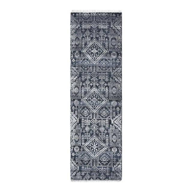 Quinn, Contemporary Transitional Hand-Knotted Runner Rug, Navy, 2' 6 X 8 For Sale