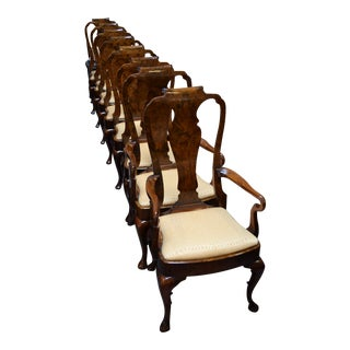 Custom Queen Anne Burled Dining Chairs - Set of 8 For Sale