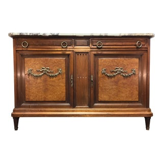Antique French Provincial Louis XVI Style Burl Walnut Marble Top Sideboard