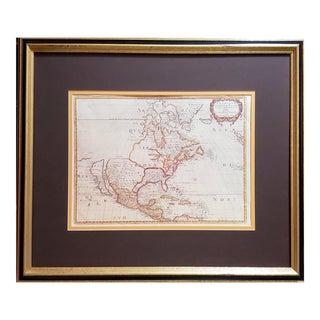 1990s Nicolas Sanson d'Abbeville 1650 Amérique Septentrionale Reproduction Map