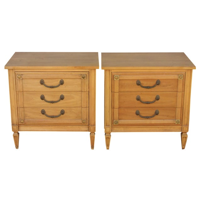 Mid-Century Three-Drawer Commodes - A Pair - Image 1 of 8