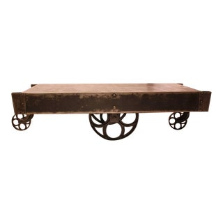 Early 20th C. Antique American Industrial Steel Cart or Coffee Table For Sale