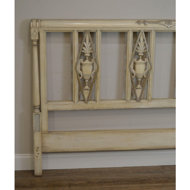 French Regency Directoire Style Vintage Custom Painted King Headboard For Sale - Image 12 of 13