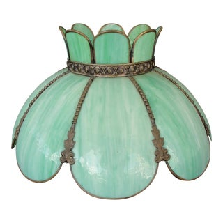 Vintage Green Tiffany Style Slag Glass Pendent