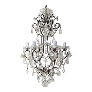 1920 French Elegant Crystal Prisms and Swags With White Roses Chandelier For Sale