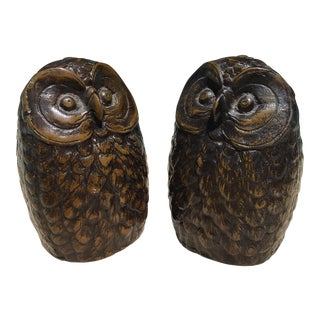 Antique Iron Owl Bookends - A Pair For Sale