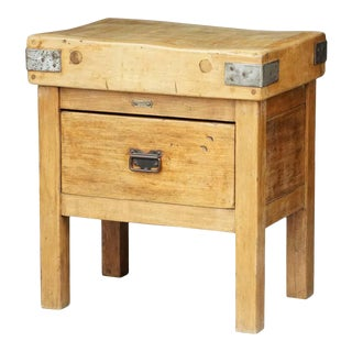 Butcher's Chopping Block Table on Stand From England For Sale