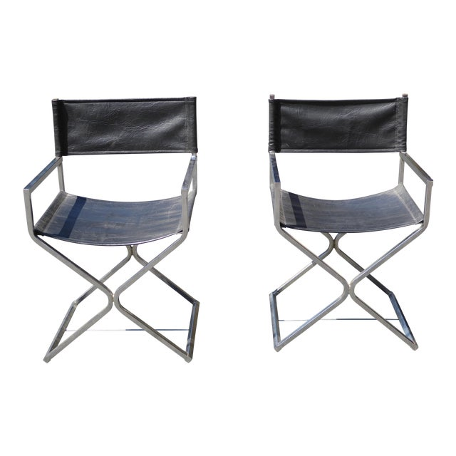 Vintage Contemporary Black Chrome Accent Chairs - A Pair For Sale