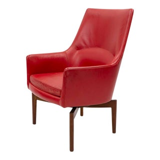 Mid 20th Century Red Leather Swivel Lounge Chair by Jenns Risom For Sale
