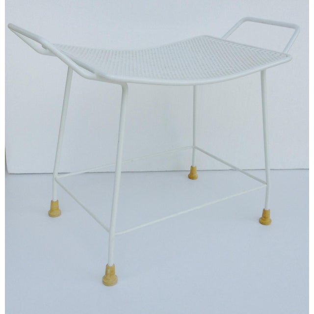 Mid-Century White Enameled Metal Stool For Sale - Image 11 of 11