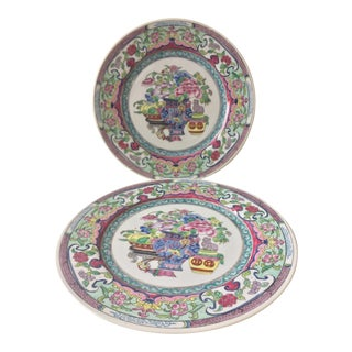 Chinoiserie Hand Painted Plates - a Pair