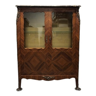 French Provincial Louis XV Inlaid Kingwood Bronze Ormolu Vitrine Curio Cabinet With Marble Top For Sale
