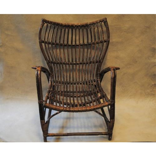 Brown Italian Rattan Bamboo Arm Chair For Sale - Image 8 of 8