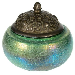 Early 20th-C. Iridescent Glass & Bronze Jar For Sale