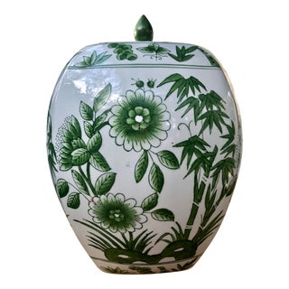 Green and White Hand Painted Lotus and Bamboo Ginger Jar For Sale