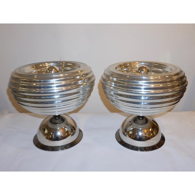 Flos 1960s Castiglioni Round Silver Tone Polished Aluminum Table Lamps - a Pair For Sale - Image 11 of 13