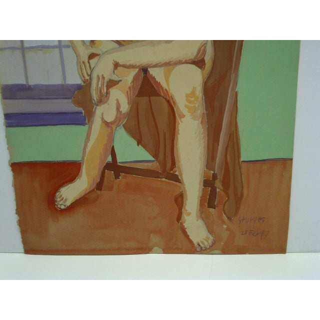 """1947 Mid-Century Modern Original Painting on Paper, """"Hunched Down Nude"""" by Tom Sturges Jr For Sale - Image 4 of 6"""
