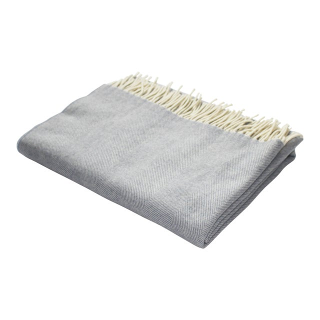 Contemporary Merino Wool Collection Light Blue Throw For Sale