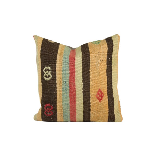 Muted Striped & Embroidered Kilim Pillow - Image 1 of 3