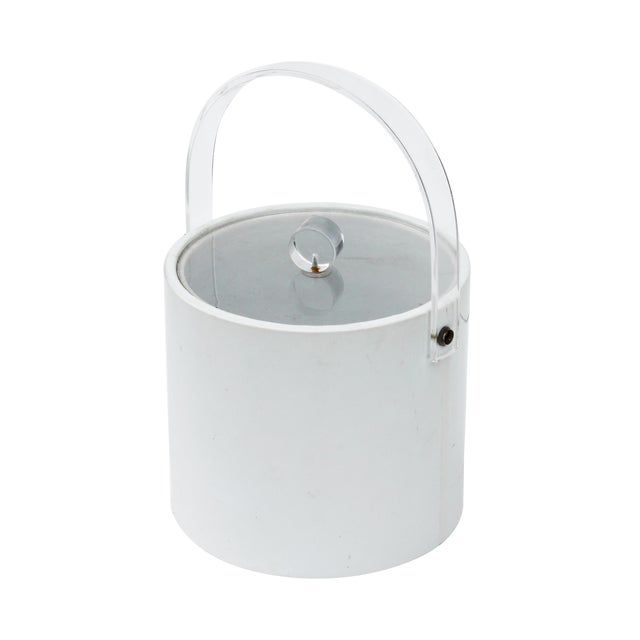 White & Lucite Lidded Ice Bucket For Sale