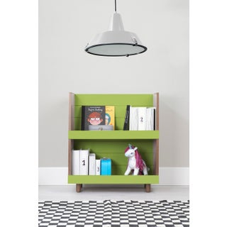 "Minimo Modern Kids 31"" Bookcase in Walnut With Green Finish Preview"