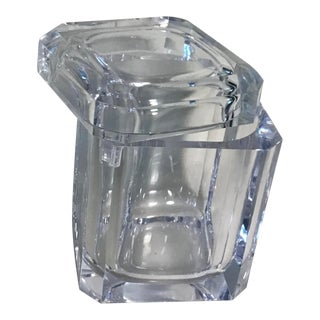 1980s Thick Lucite Ice Bucket With Swivel Lid For Sale