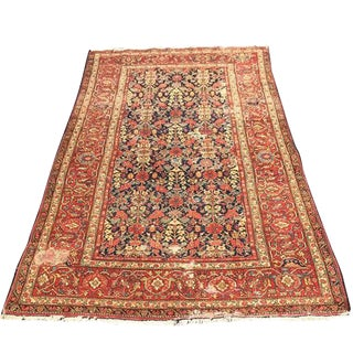 Vintage Persian Rug Red Persian Intricate Floral Pattern Large Border